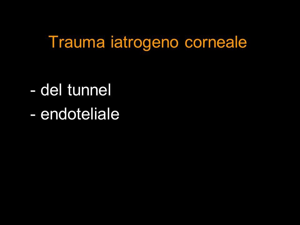 Trauma iatrogeno corneale - del tunnel - endoteliale
