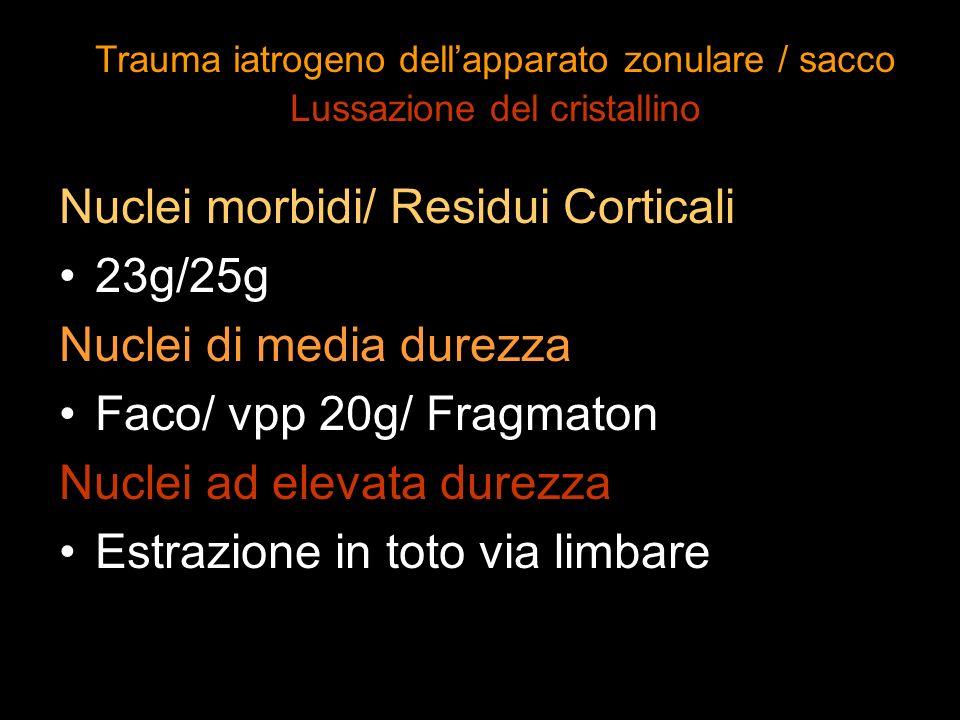 Nuclei morbidi/ Residui Corticali 23g/25g Nuclei di media durezza Faco/ vpp 20g/ Fragmaton Nuclei ad elevata durezza Estrazione in toto via limbare Tr