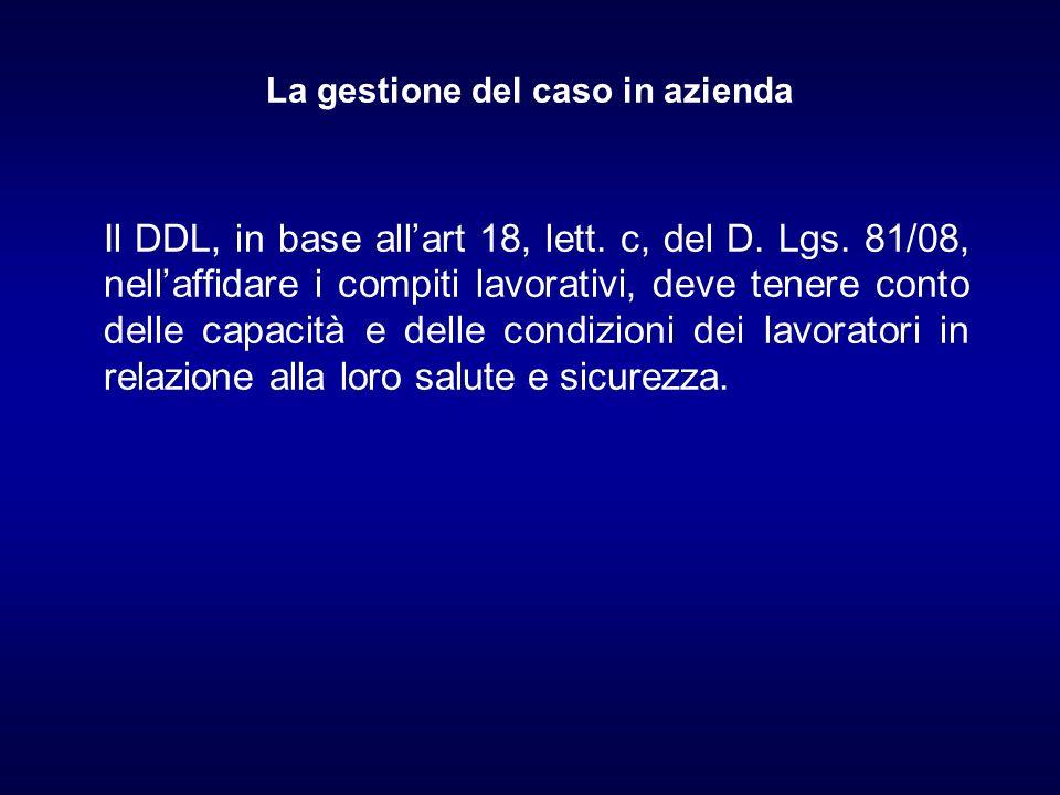 La gestione del caso in azienda Il DDL, in base allart 18, lett. c, del D. Lgs. 81/08, nellaffidare i compiti lavorativi, deve tenere conto delle capa