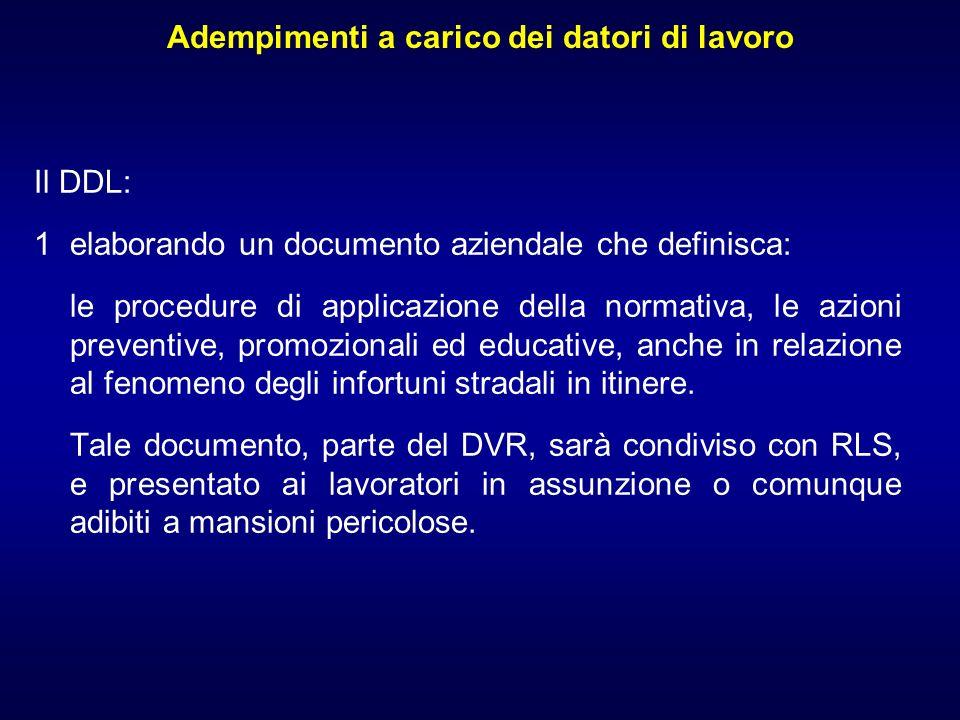 Adempimenti a carico dei datori di lavoro Il DDL: 1elaborando un documento aziendale che definisca: le procedure di applicazione della normativa, le a