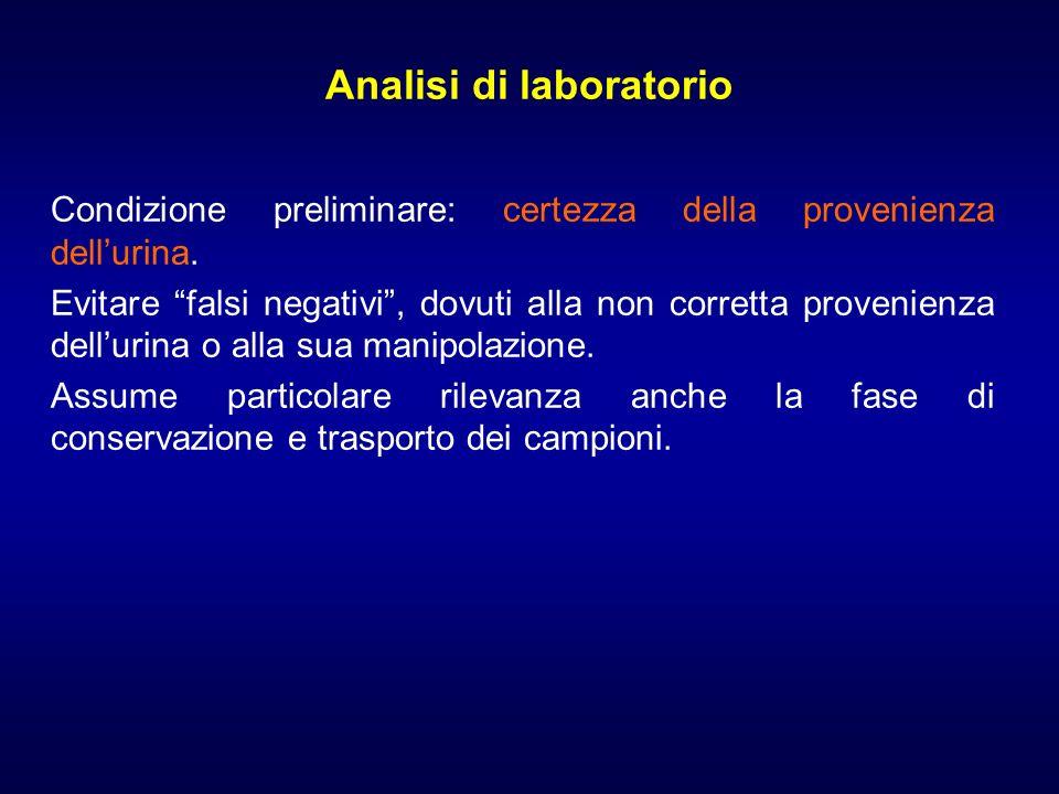 Analisi di laboratorio Condizione preliminare: certezza della provenienza dellurina. Evitare falsi negativi, dovuti alla non corretta provenienza dell