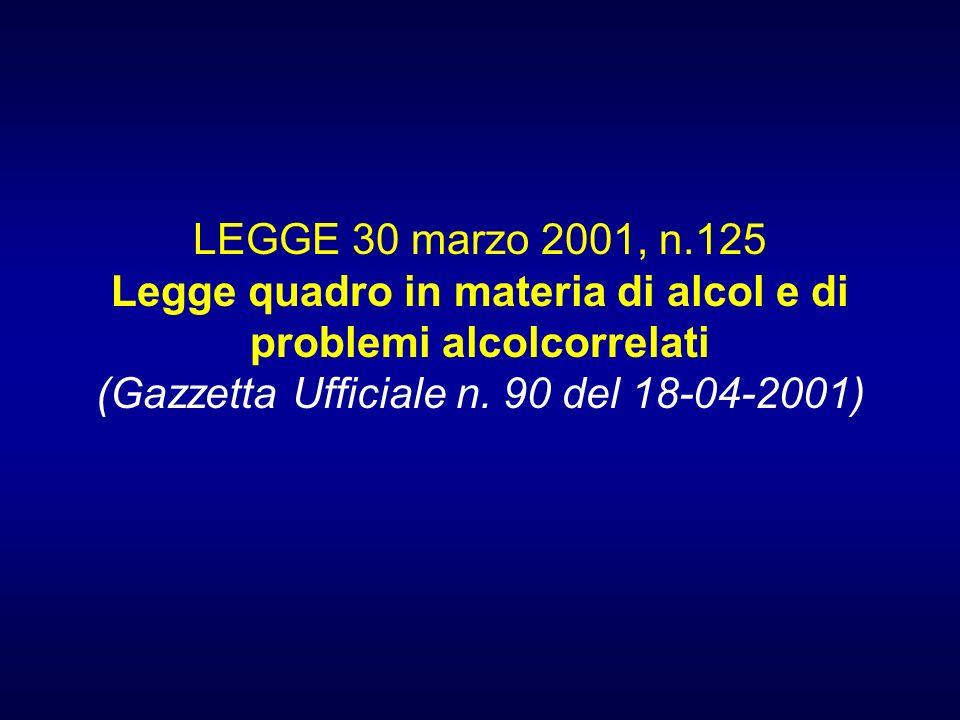 LEGGE 30 marzo 2001, n.125 Legge quadro in materia di alcol e di problemi alcolcorrelati (Gazzetta Ufficiale n. 90 del 18-04-2001)