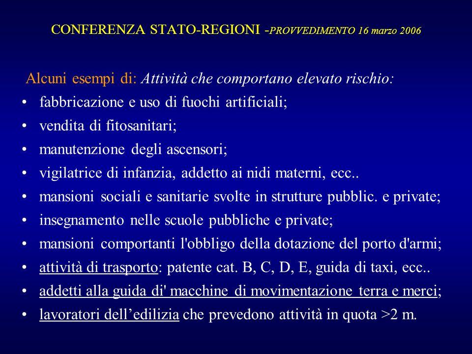 CONFERENZA STATO-REGIONI - PROVVEDIMENTO 16 marzo 2006 Alcuni esempi di: Attività che comportano elevato rischio: fabbricazione e uso di fuochi artifi