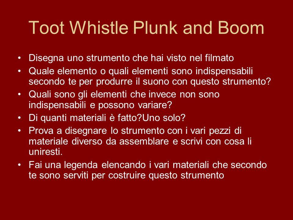 Toot Whistle Plunk and Boom Disegna uno strumento che hai visto nel filmato Quale elemento o quali elementi sono indispensabili secondo te per produrr
