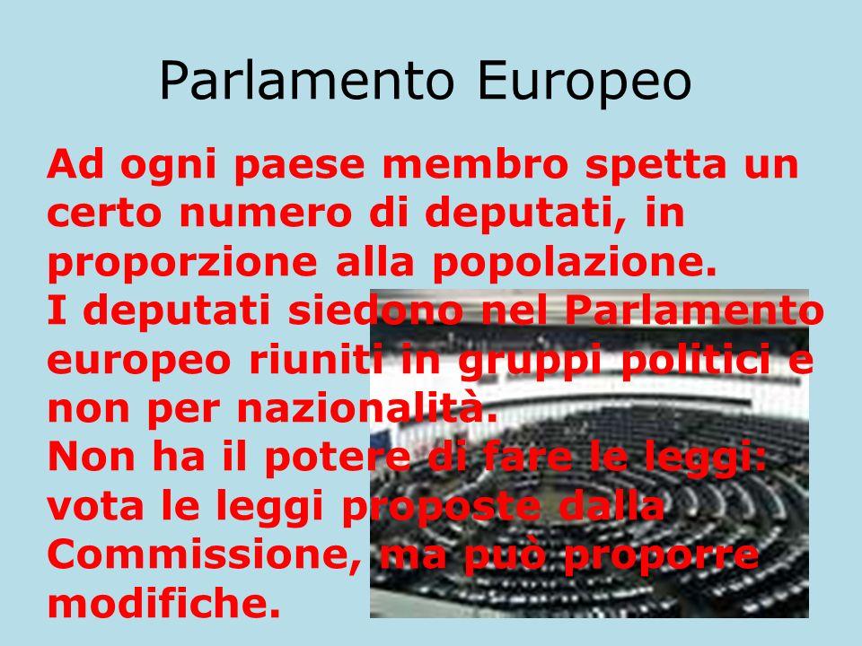 Parlamento Europeo Ad ogni paese membro spetta un certo numero di deputati, in proporzione alla popolazione. I deputati siedono nel Parlamento europeo