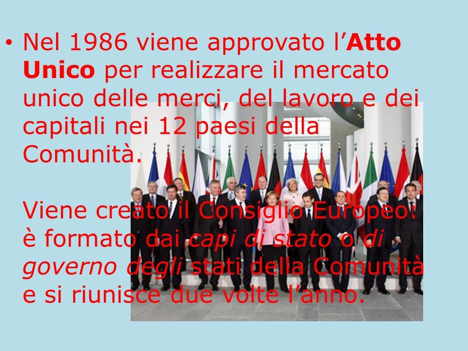 Nel 1986 viene approvato lAtto Unico per realizzare il mercato unico delle merci, del lavoro e dei capitali nei 12 paesi della Comunità. Viene creato