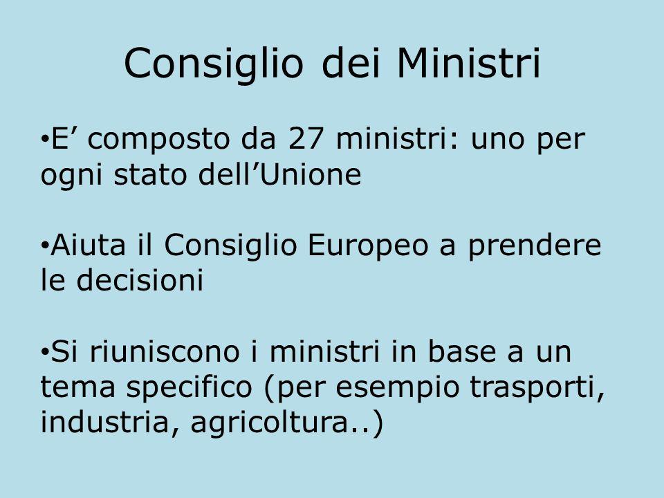 Consiglio dei Ministri E composto da 27 ministri: uno per ogni stato dellUnione Aiuta il Consiglio Europeo a prendere le decisioni Si riuniscono i min