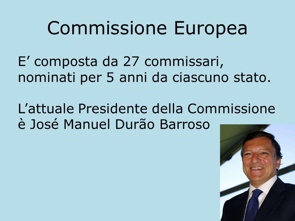 Commissione Europea E composta da 27 commissari, nominati per 5 anni da ciascuno stato. Lattuale Presidente della Commissione è José Manuel Durão Barr