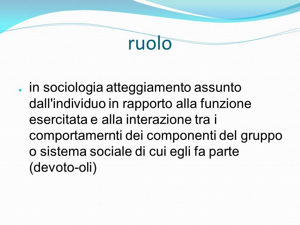 ruolo in sociologia atteggiamento assunto dall'individuo in rapporto alla funzione esercitata e alla interazione tra i comportamernti dei componenti d