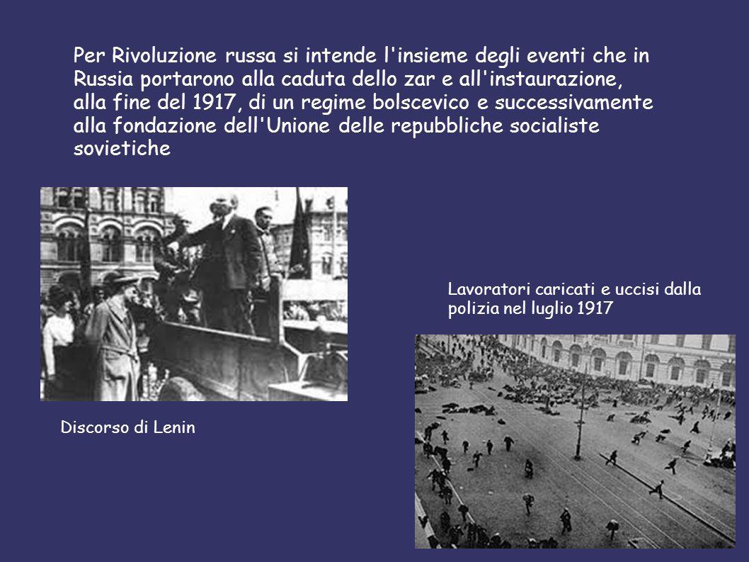 Per Rivoluzione russa si intende l'insieme degli eventi che in Russia portarono alla caduta dello zar e all'instaurazione, alla fine del 1917, di un r