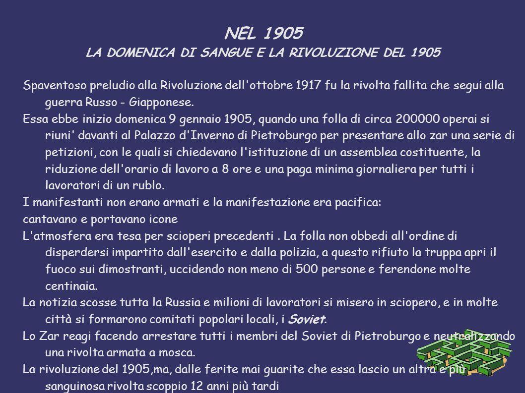 NEL 1905 LA DOMENICA DI SANGUE E LA RIVOLUZIONE DEL 1905 Spaventoso preludio alla Rivoluzione dell'ottobre 1917 fu la rivolta fallita che segui alla g