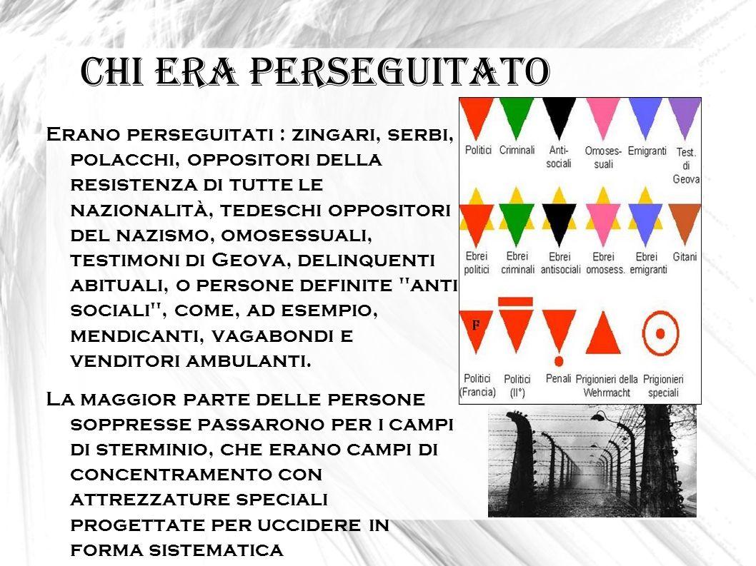 Chi era perseguitato Erano perseguitati : zingari, serbi, polacchi, oppositori della resistenza di tutte le nazionalità, tedeschi oppositori del nazis