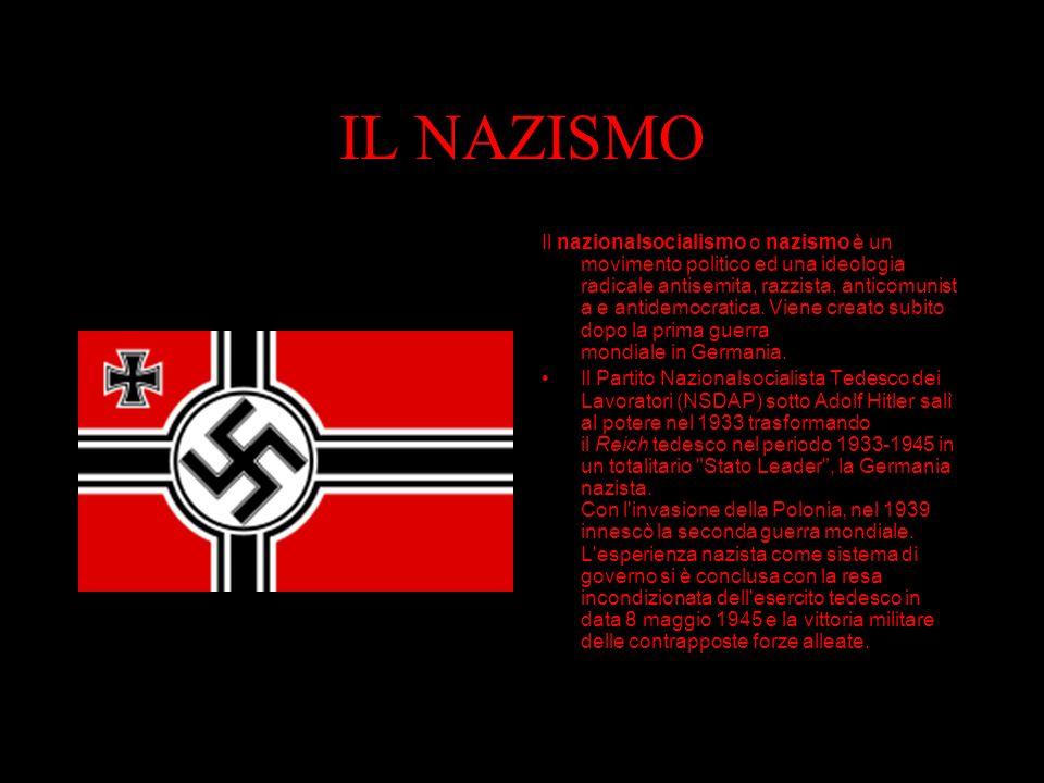 IL NAZISMO Il nazionalsocialismo o nazismo è un movimento politico ed una ideologia radicale antisemita, razzista, anticomunist a e antidemocratica.