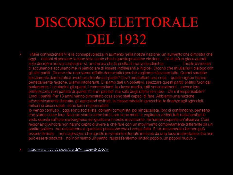 DISCORSO ELETTORALE DEL 1932 «Miei connazionali.