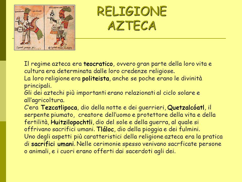 RELIGIONE AZTECA Imágene s Represent ación de Tlaloc, dios de la lluvia y el trueno. Il regime azteca era teocratico, ovvero gran parte della loro vit