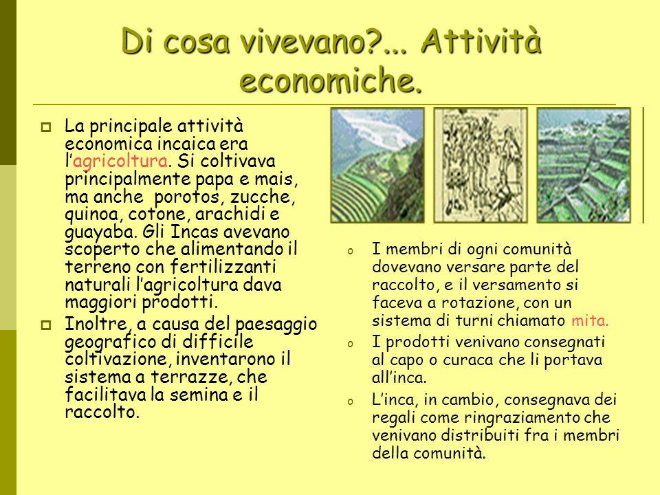 Di cosa vivevano?... Attività economiche. La principale attività economica incaica era lagricoltura. Si coltivava principalmente papa e mais, ma anche