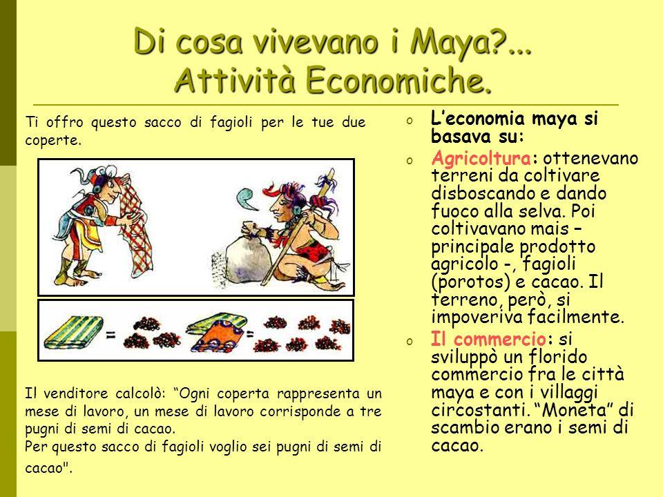 Di cosa vivevano i Maya?... Attività Economiche. oLoLeconomia maya si basava su: oAoAgricoltura: ottenevano terreni da coltivare disboscando e dando f
