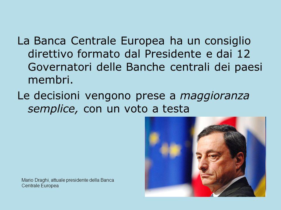 La Banca Centrale Europea ha un consiglio direttivo formato dal Presidente e dai 12 Governatori delle Banche centrali dei paesi membri.