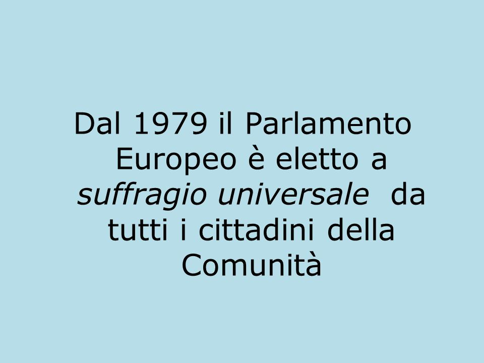 Dal 1979 il Parlamento Europeo è eletto a suffragio universale da tutti i cittadini della Comunità