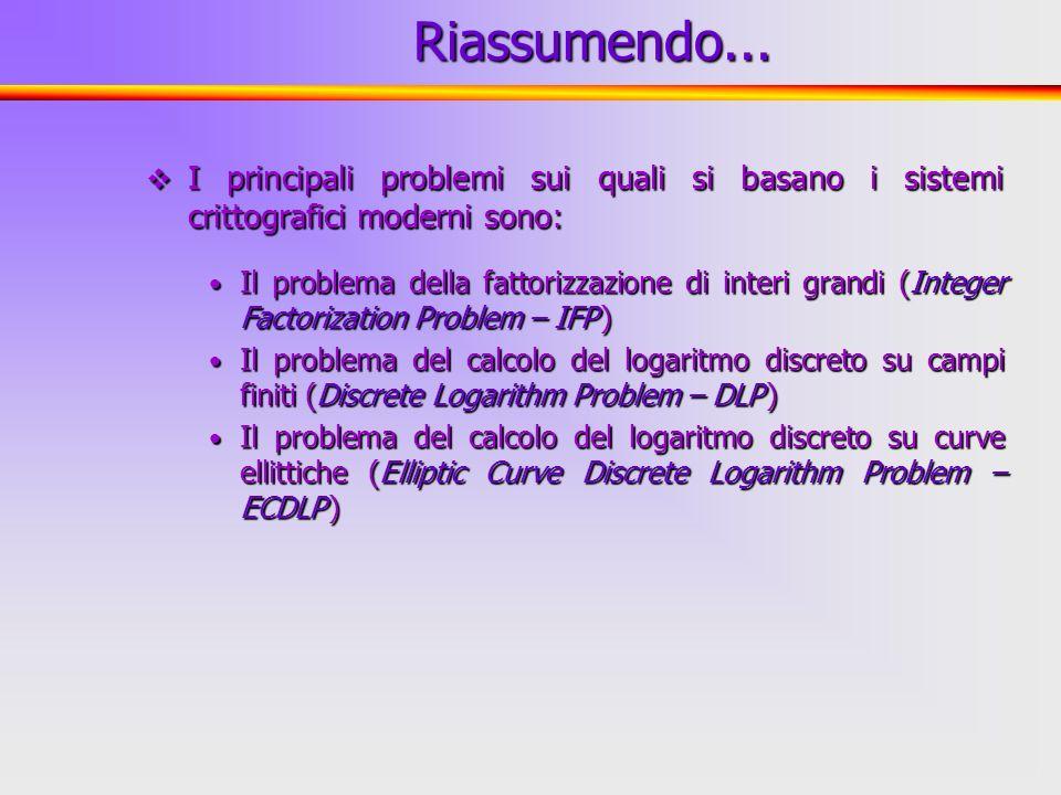 2 I principali problemi sui quali si basano i sistemi crittografici moderni sono: I principali problemi sui quali si basano i sistemi crittografici mo