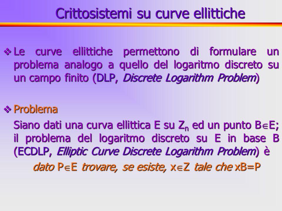 35 Le curve ellittiche permettono di formulare un problema analogo a quello del logaritmo discreto su un campo finito (DLP, Discrete Logarithm Problem
