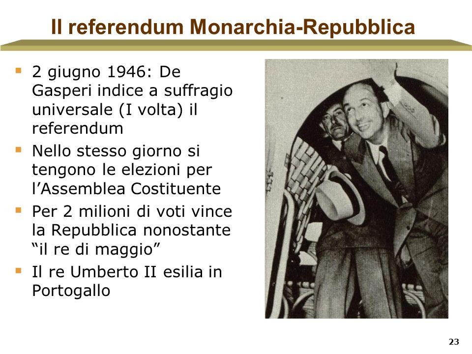 23 Il referendum Monarchia-Repubblica 2 giugno 1946: De Gasperi indice a suffragio universale (I volta) il referendum Nello stesso giorno si tengono l