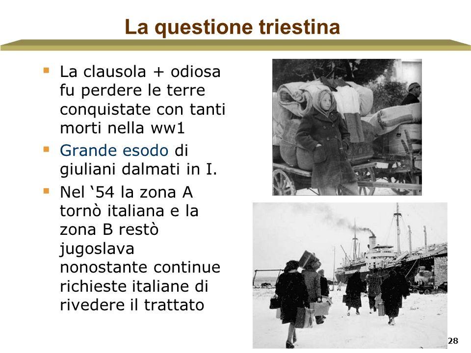 28 La questione triestina La clausola + odiosa fu perdere le terre conquistate con tanti morti nella ww1 Grande esodo di giuliani dalmati in I. Nel 54