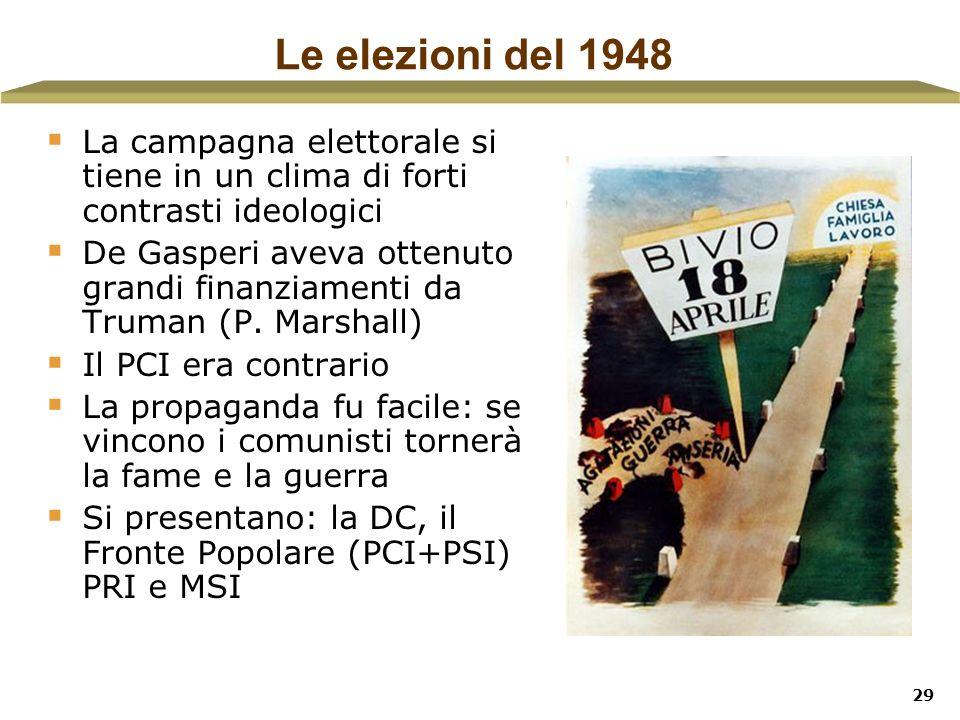 29 Le elezioni del 1948 La campagna elettorale si tiene in un clima di forti contrasti ideologici De Gasperi aveva ottenuto grandi finanziamenti da Tr