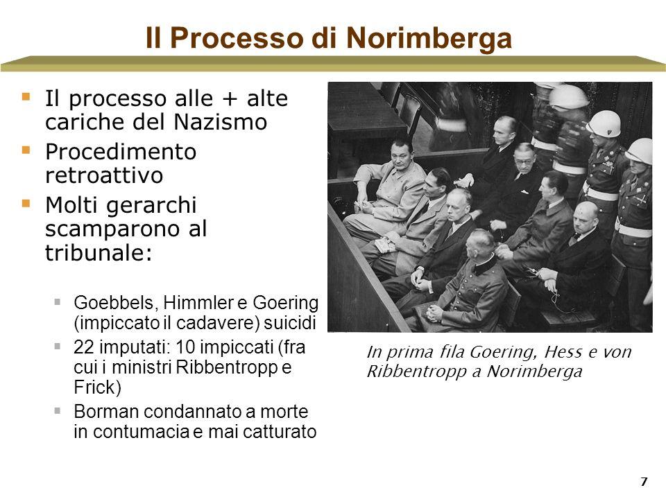 7 Il Processo di Norimberga Il processo alle + alte cariche del Nazismo Procedimento retroattivo Molti gerarchi scamparono al tribunale: Goebbels, Him