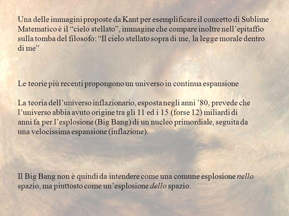 Una delle immagini proposte da Kant per esemplificare il concetto di Sublime Matematico è il cielo stellato, immagine che compare inoltre nellepitaffi
