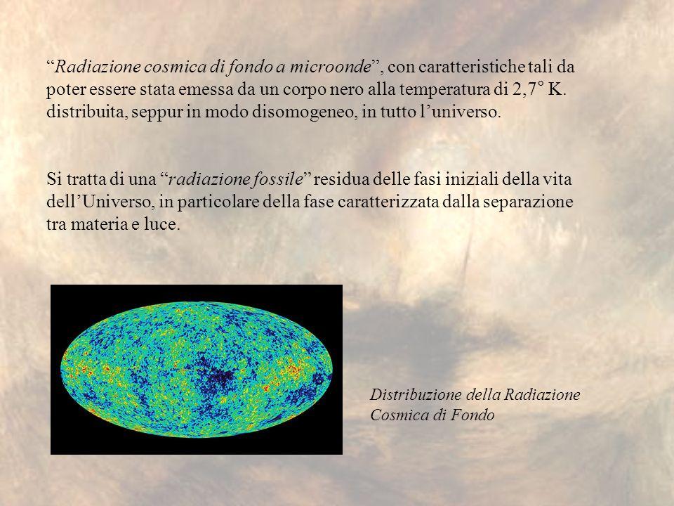 Radiazione cosmica di fondo a microonde, con caratteristiche tali da poter essere stata emessa da un corpo nero alla temperatura di 2,7° K. distribuit