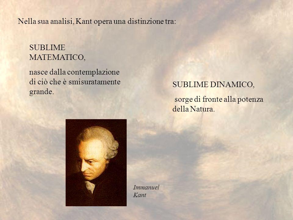 SUBLIME MATEMATICO, nasce dalla contemplazione di ciò che è smisuratamente grande. Nella sua analisi, Kant opera una distinzione tra: SUBLIME DINAMICO