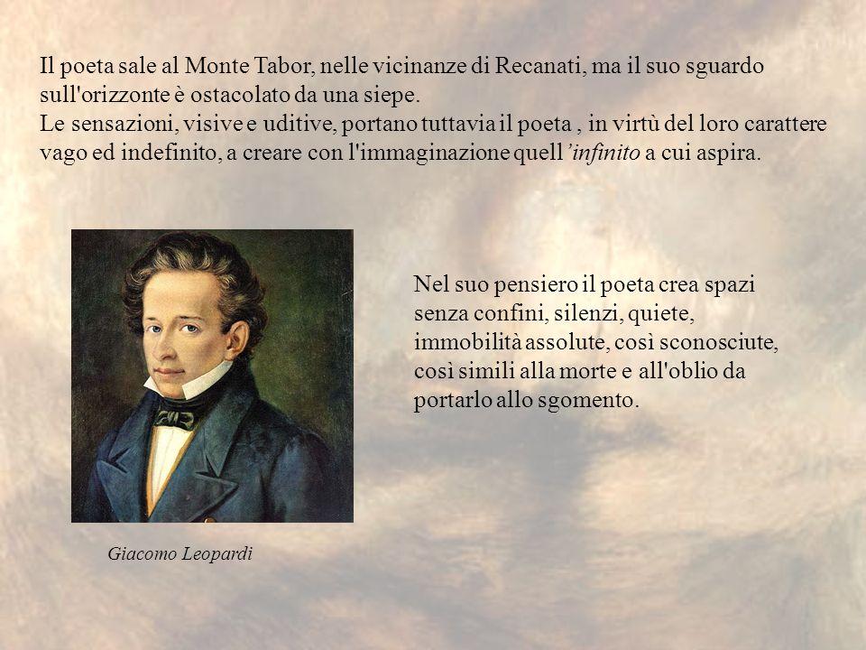 Il poeta sale al Monte Tabor, nelle vicinanze di Recanati, ma il suo sguardo sull'orizzonte è ostacolato da una siepe. Le sensazioni, visive e uditive