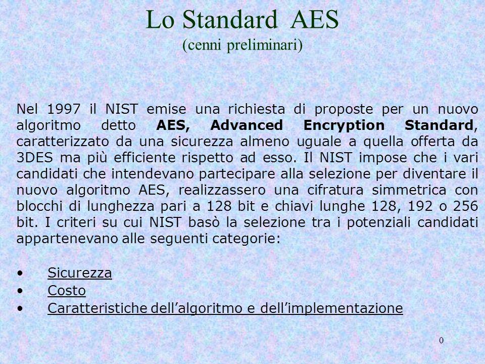 39 AES in dettaglio http://www.dia.unisa.it/~ads/corso-security/www/CORSO-9900/aes/index.htmhttp://www.dia.unisa.it/~ads/corso-security/www/CORSO-9900/aes/index.htm