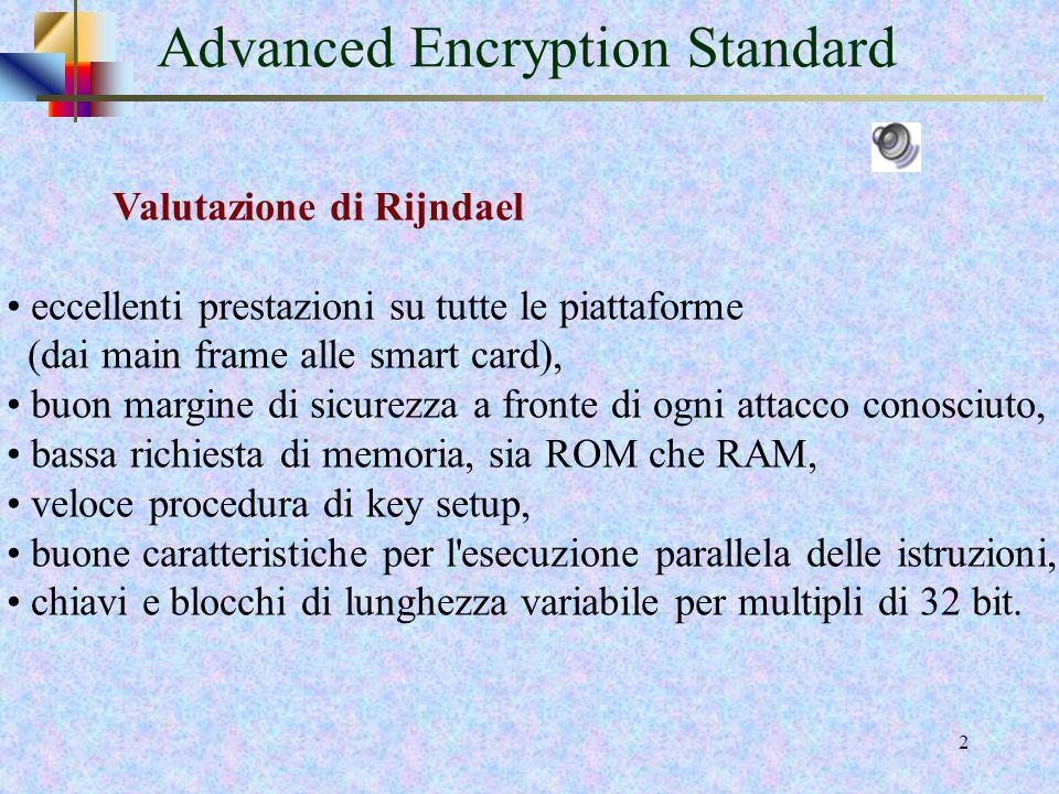 31 Aggiunta della sottochiave Loperazione AddRoundKey consiste in un bitwise XOR tra i 128 bits dello State e i 128 bits della round key AES usa una chiave di 128 bit (4 words da 4 bytes) Nel processo di encryption si usano 11 round key di 4 words In totale si usano 44 words da 4 bytes = 176 bytes = 1408 bits 1408 bits ottenuti tramite il processo di key expansion