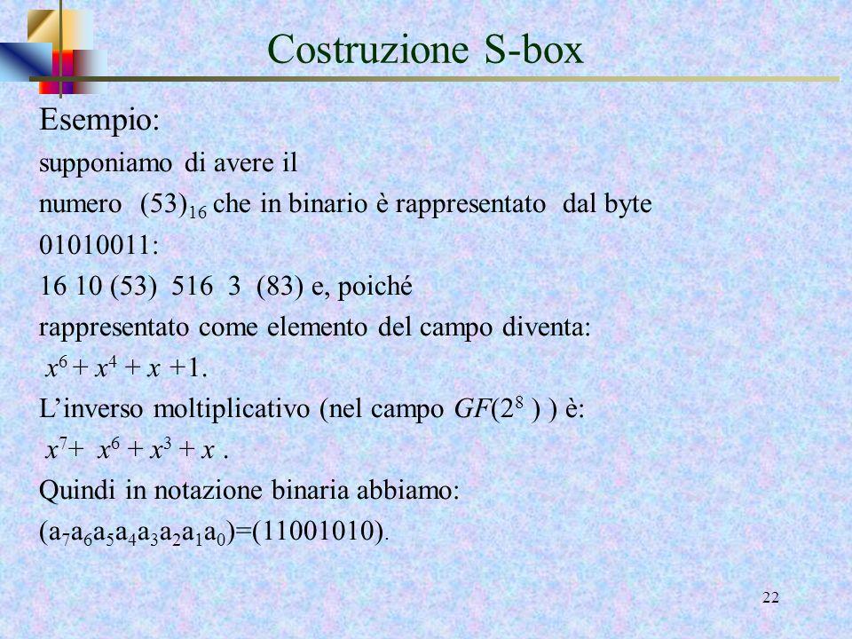 20 Costruzione S-box La figura seguente illustra l' effetto della trasformazione SubBytes () sull'array State