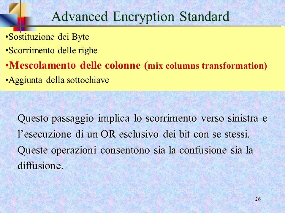 24 Advanced Encryption Standard E un passaggio di trasposizione. Per le dimensioni del blocco pari a 128 o 192 bit, la riga n viene fatta scorrere in