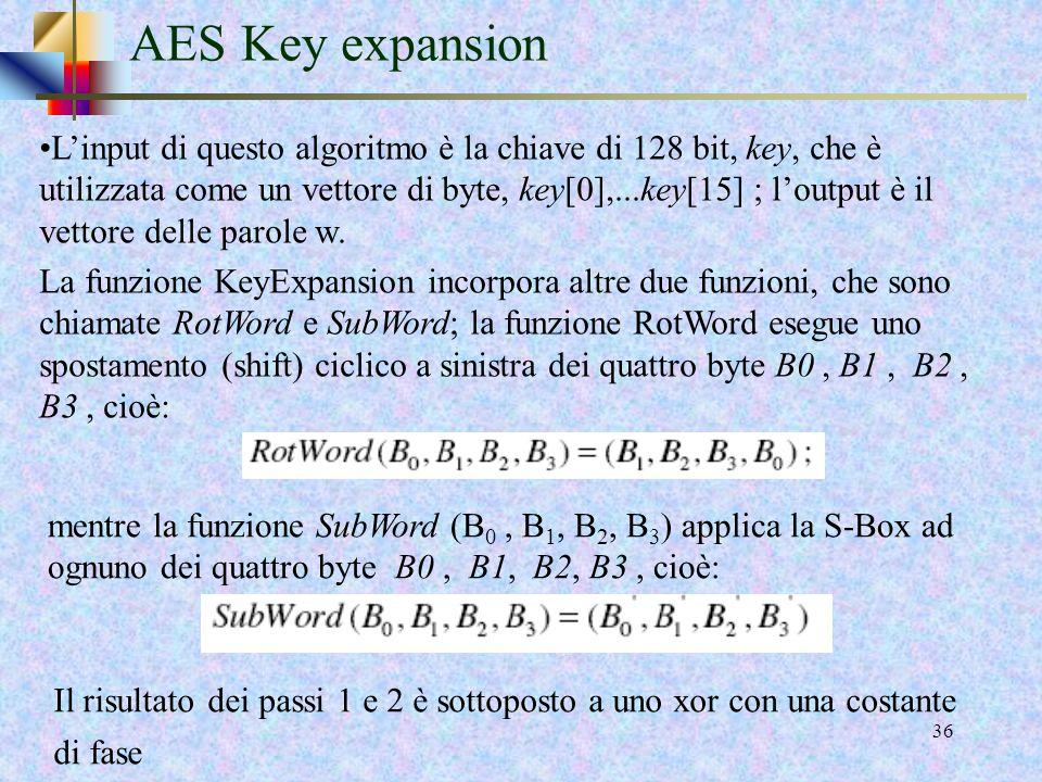 34 AES Key expansion Consideriamo la versione di AES a 10 round, ossia la versione che usa una chiave a 128 bit. Ci servono un numero di chiavi adatto