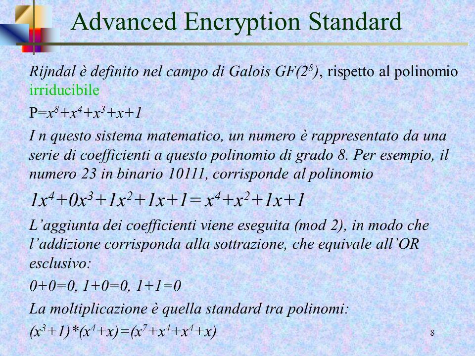 6 State array Lunità di elaborazione dellalgoritmo non è il bit ma il byte. Per un blocco di 128 bit la matrice in input è costituita da 16 byte, ovve