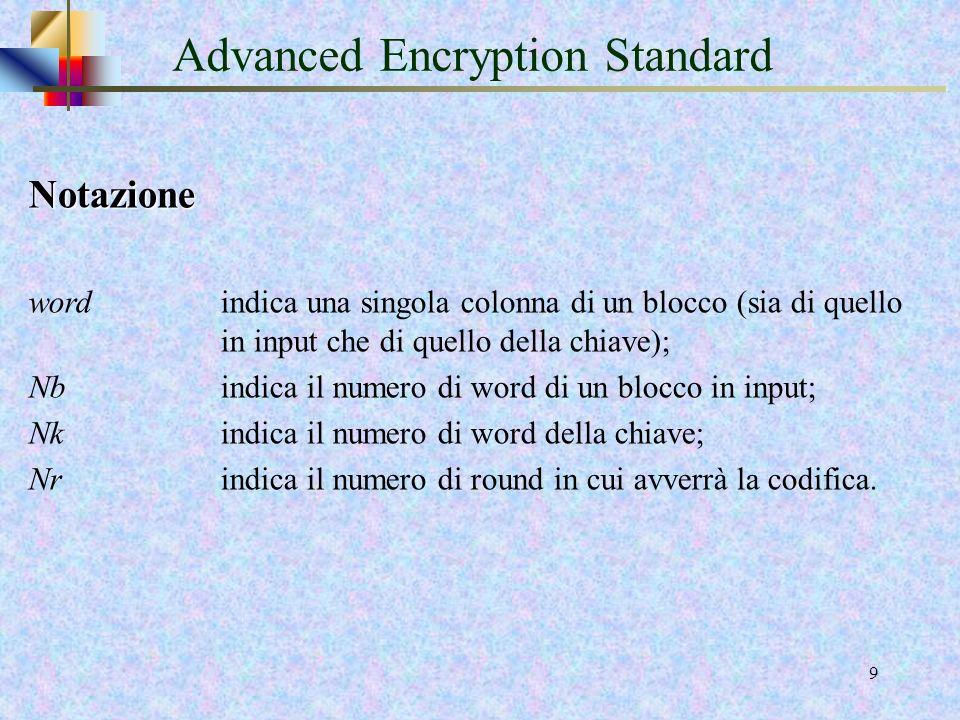 38 AES Key expansion Nota Le prime Nk word della chiave espansa sono ottenute direttamente dalla chiave di cifratura, mentre ogni word successiva, w[ i ], dalla chiave di cifratura, mentre ogni word successiva, w[ i ], è uguale allo XOR della word precedente, w[ i-1 ], con la word di Nk posizioni più indietro.