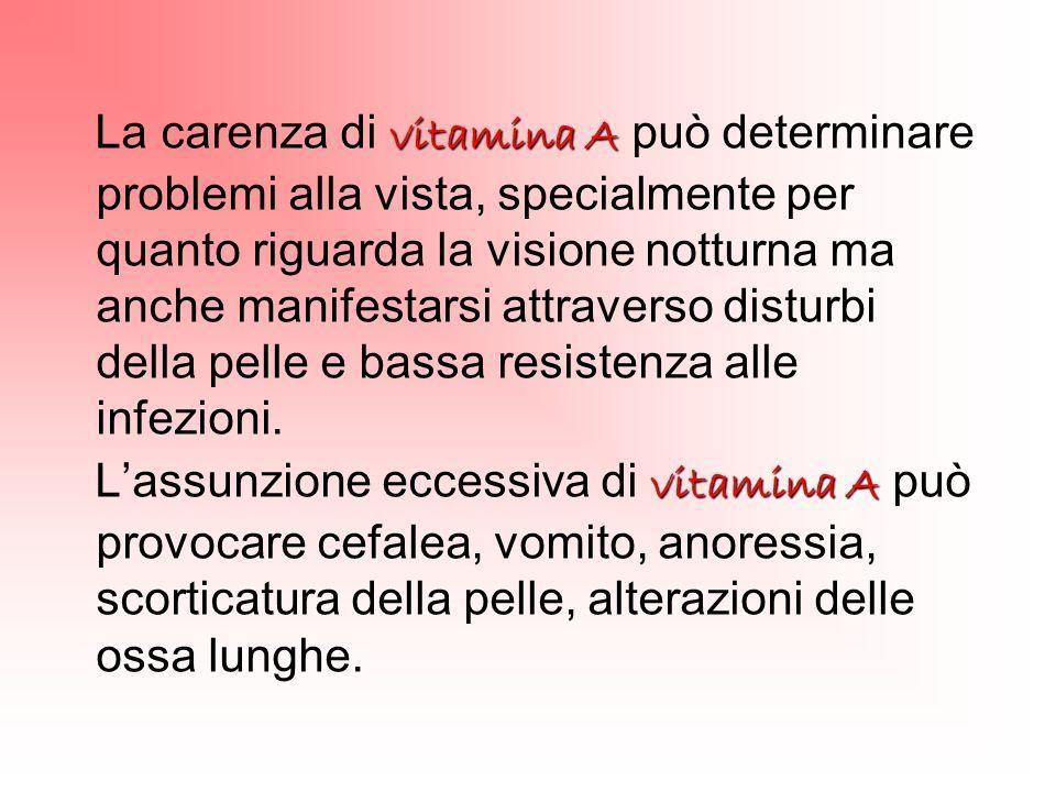 vitamina A La carenza di vitamina A può determinare problemi alla vista, specialmente per quanto riguarda la visione notturna ma anche manifestarsi at