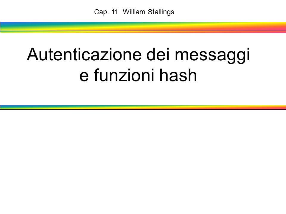 Autenticazione dei messaggi e funzioni hash Cap. 11 William Stallings