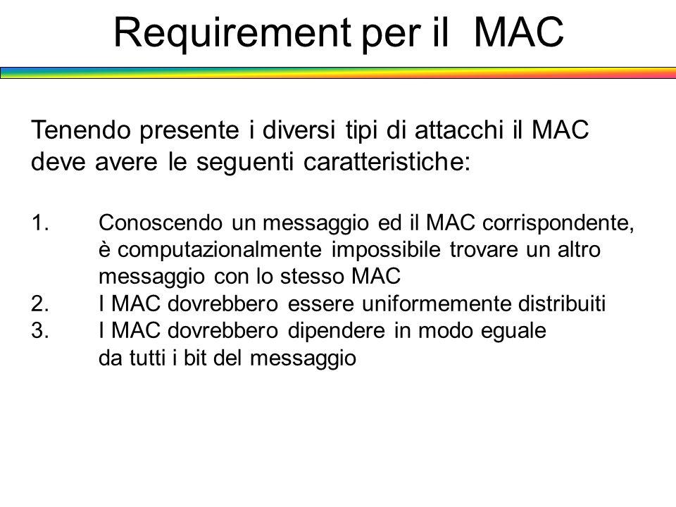 Requirement per il MAC Tenendo presente i diversi tipi di attacchi il MAC deve avere le seguenti caratteristiche: 1. Conoscendo un messaggio ed il MAC