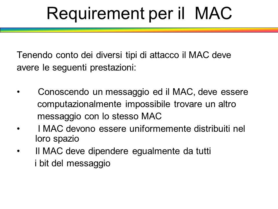 Requirement per il MAC Tenendo conto dei diversi tipi di attacco il MAC deve avere le seguenti prestazioni: Conoscendo un messaggio ed il MAC, deve es