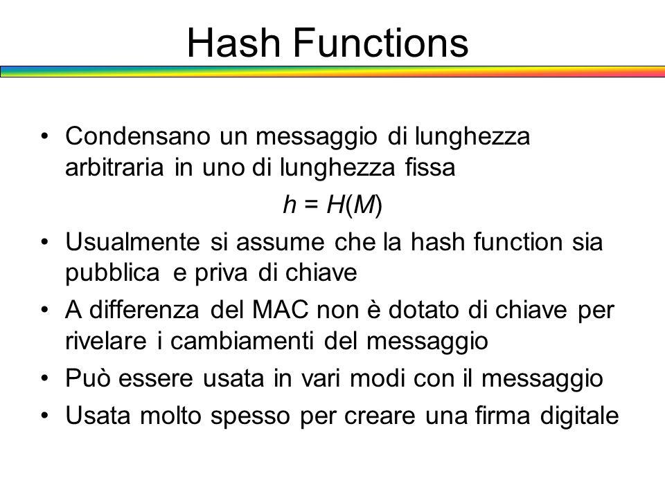 Hash Functions Condensano un messaggio di lunghezza arbitraria in uno di lunghezza fissa h = H(M) Usualmente si assume che la hash function sia pubbli