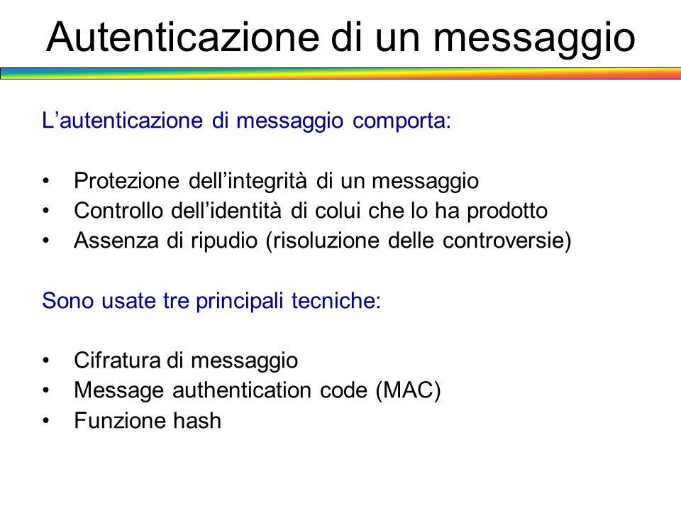 Autenticazione di un messaggio Lautenticazione di messaggio comporta: Protezione dellintegrità di un messaggio Controllo dellidentità di colui che lo