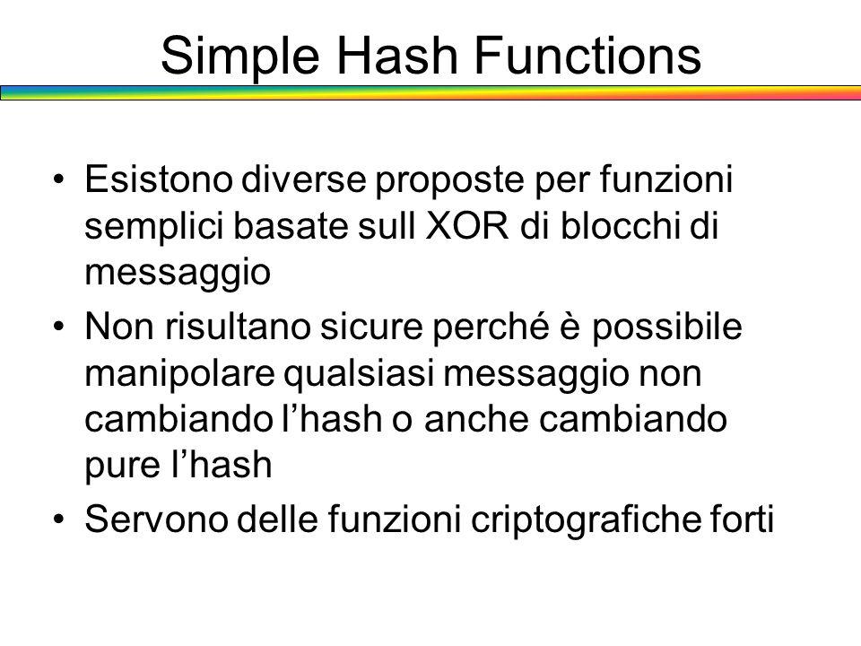 Simple Hash Functions Esistono diverse proposte per funzioni semplici basate sull XOR di blocchi di messaggio Non risultano sicure perché è possibile
