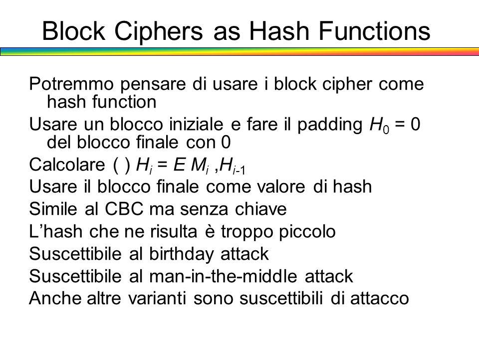 Block Ciphers as Hash Functions Potremmo pensare di usare i block cipher come hash function Usare un blocco iniziale e fare il padding H 0 = 0 del blo
