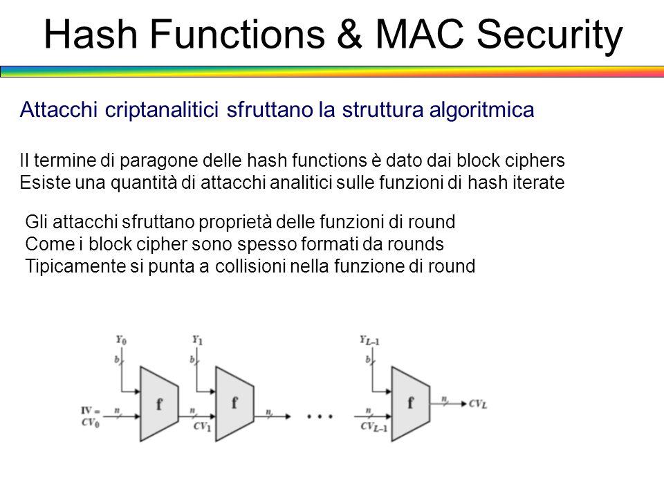 Hash Functions & MAC Security Attacchi criptanalitici sfruttano la struttura algoritmica Il termine di paragone delle hash functions è dato dai block