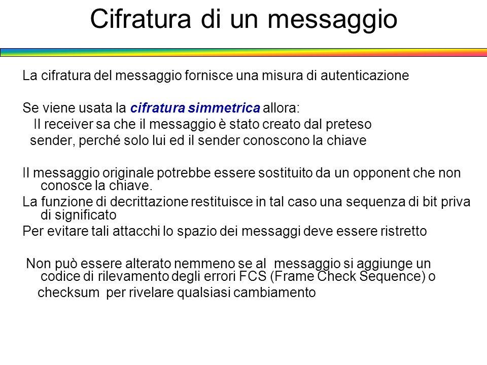 Cifratura di un messaggio La cifratura del messaggio fornisce una misura di autenticazione Se viene usata la cifratura simmetrica allora: Il receiver